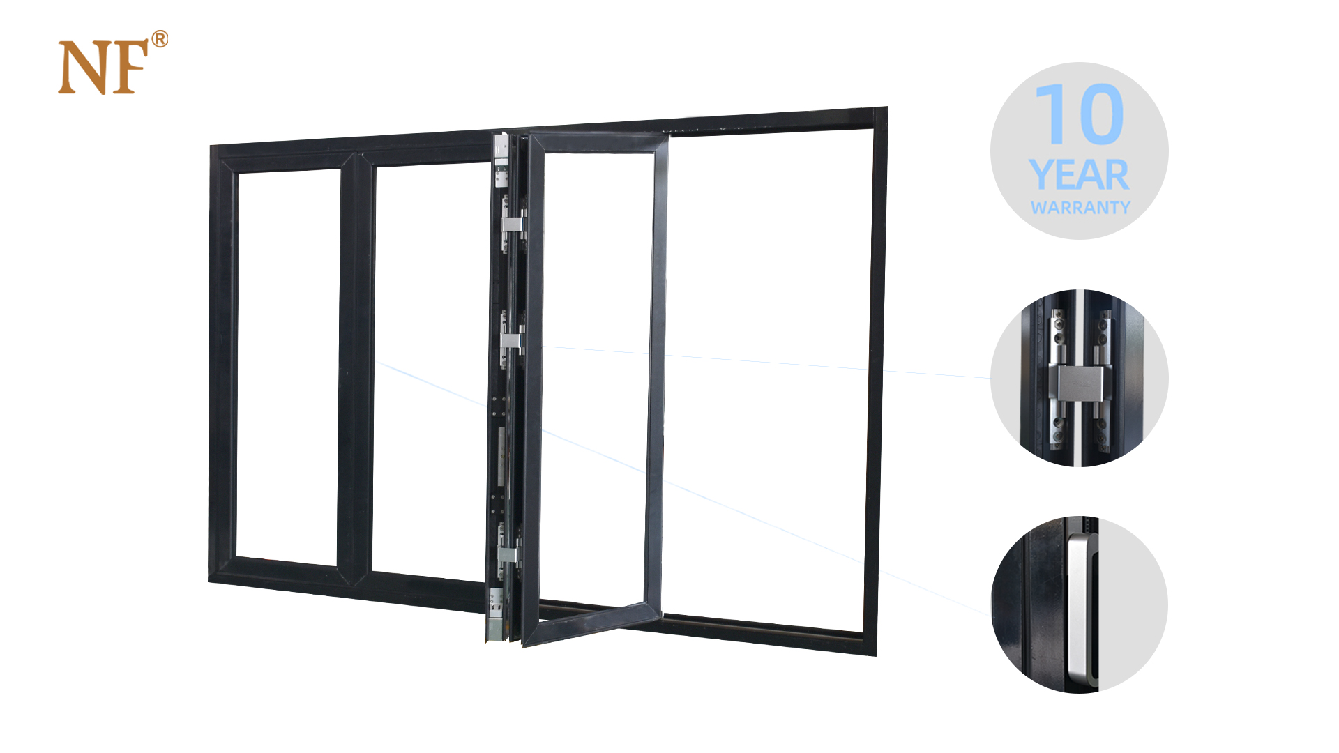 Bifold accordion folding windows