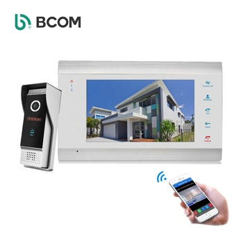 "Fast Shipping AHD 7"" TFT LCD monitor ding dong bell door video 4 wire intercom system with MP4 Playing function"
