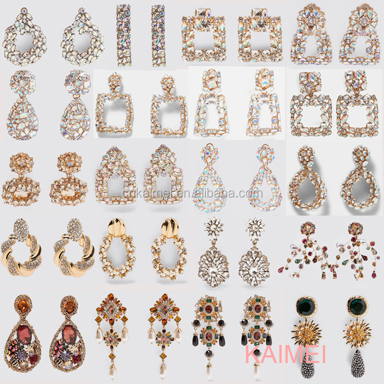 Kaimei New Geometric Colorful Rhinestone Dangle Drop Earrings High-Quality Crystals Beads Round Handmade Dangle Drop For Women
