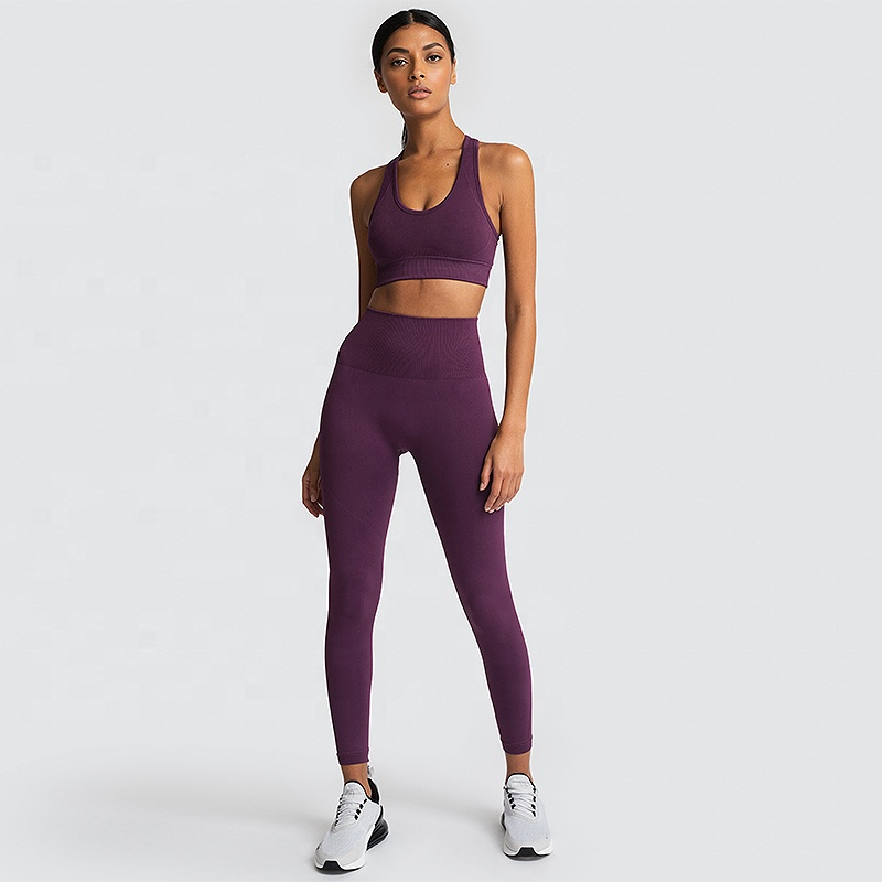 Ladies Polyester Yoga Suit Apparel Gym Leggings Seamless Fitness Gym Yoga <strong>Wear</strong>