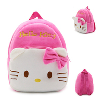 1-3 Years Baby Plush Backpack Cute Cartoon Pink Hello Kitty Animal Cat Plush Bag Soft Toy Children's School Bag