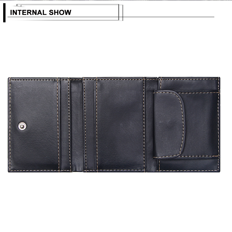 product-New Men Wallets Small Money Bag Retro Design Top Men Thin Wallet With Coin Purse Short Busin-2