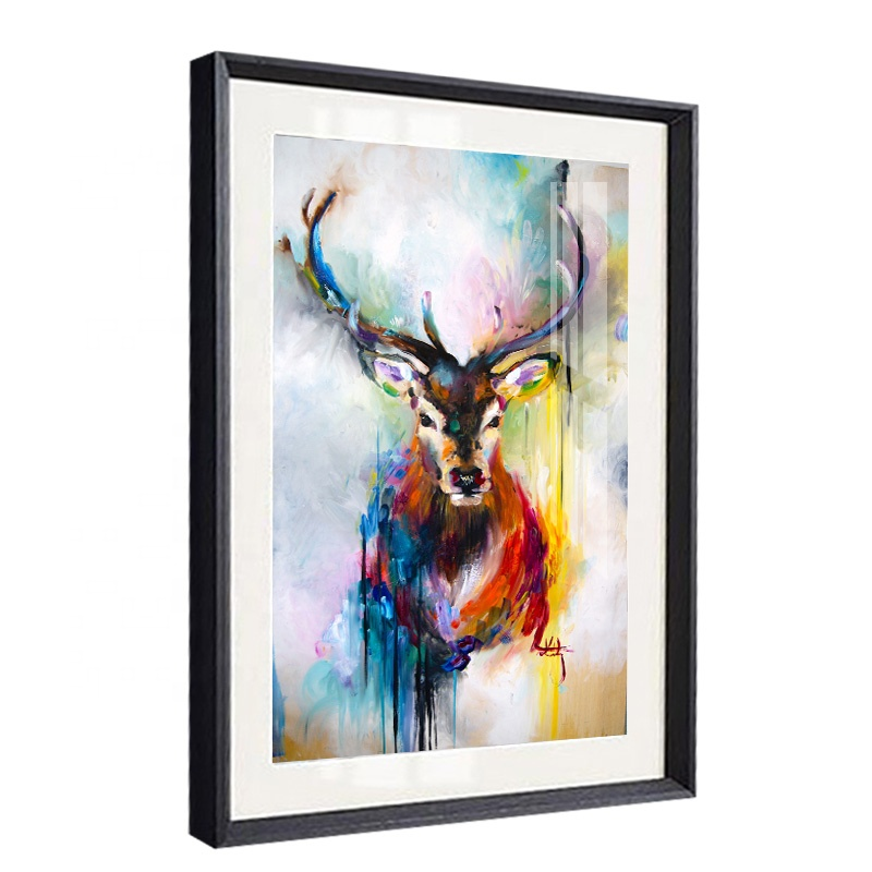 Abstract Artistic Watercolour Deer Painting Cuadros Pop Wall Art Canvas Print Animal <strong>Picture</strong>