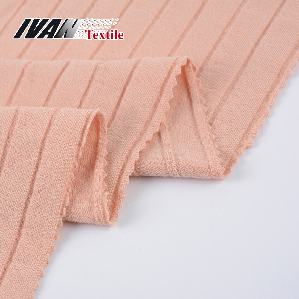 Women double jersey spandex polyester cotton 19x4 Rib CVC knit fabric for dress bodysuit