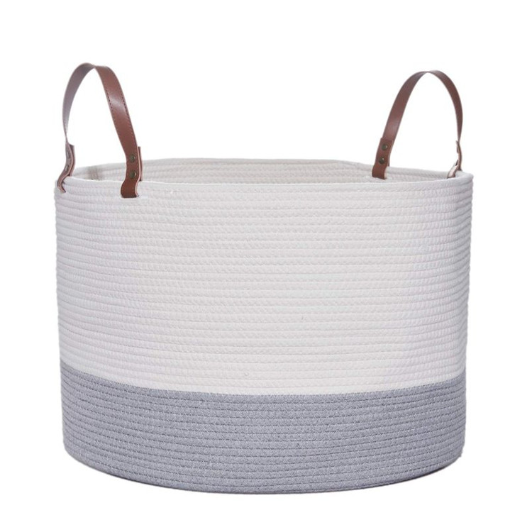 Multi purpose household storage cotton rope basket with handles for baby nursery