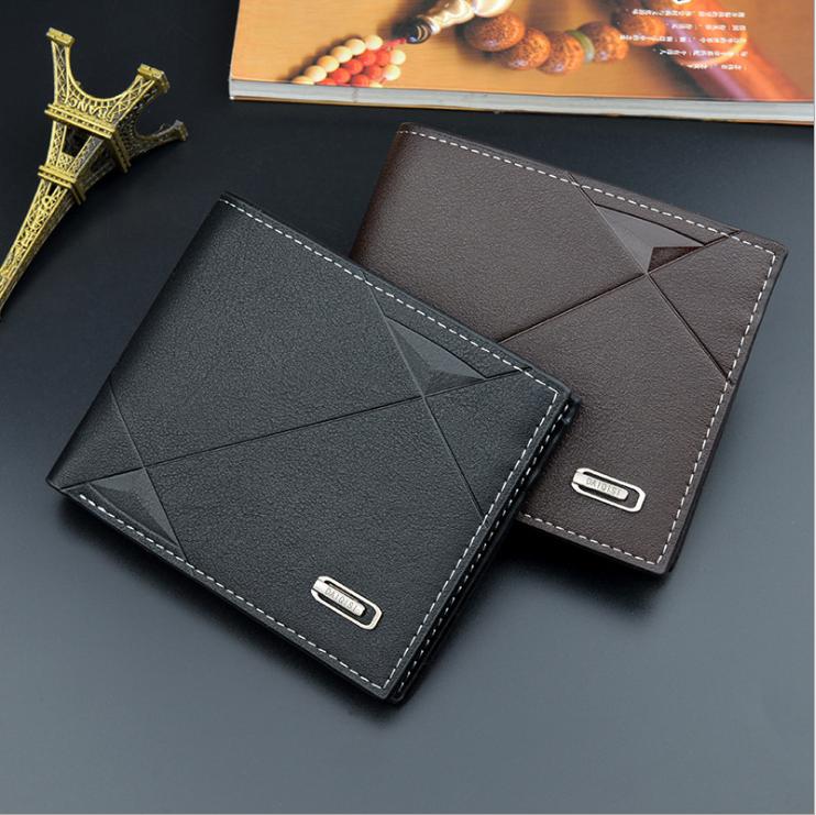 Индивидуальный заказ Уникальный Двойные Короткие Тонкий путешествия кожаный мужской черный кошелек