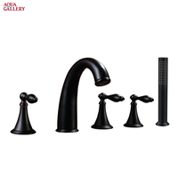 Classical Design Tub Mounted 5-Hole Bath Faucet in Black Color