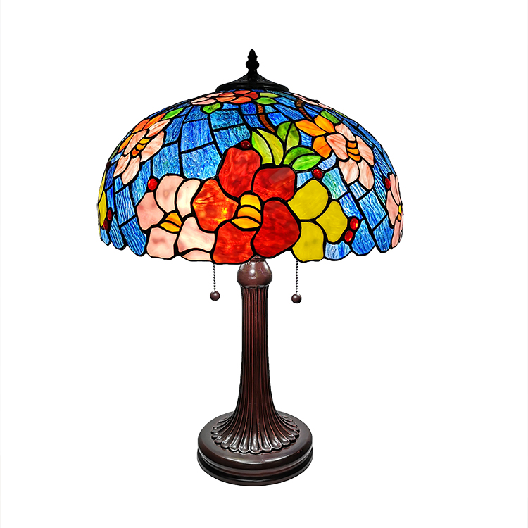 Blue with some pink and red flowers desk lighting Stained Glass shade Tiffany Table Lamp For Living Room
