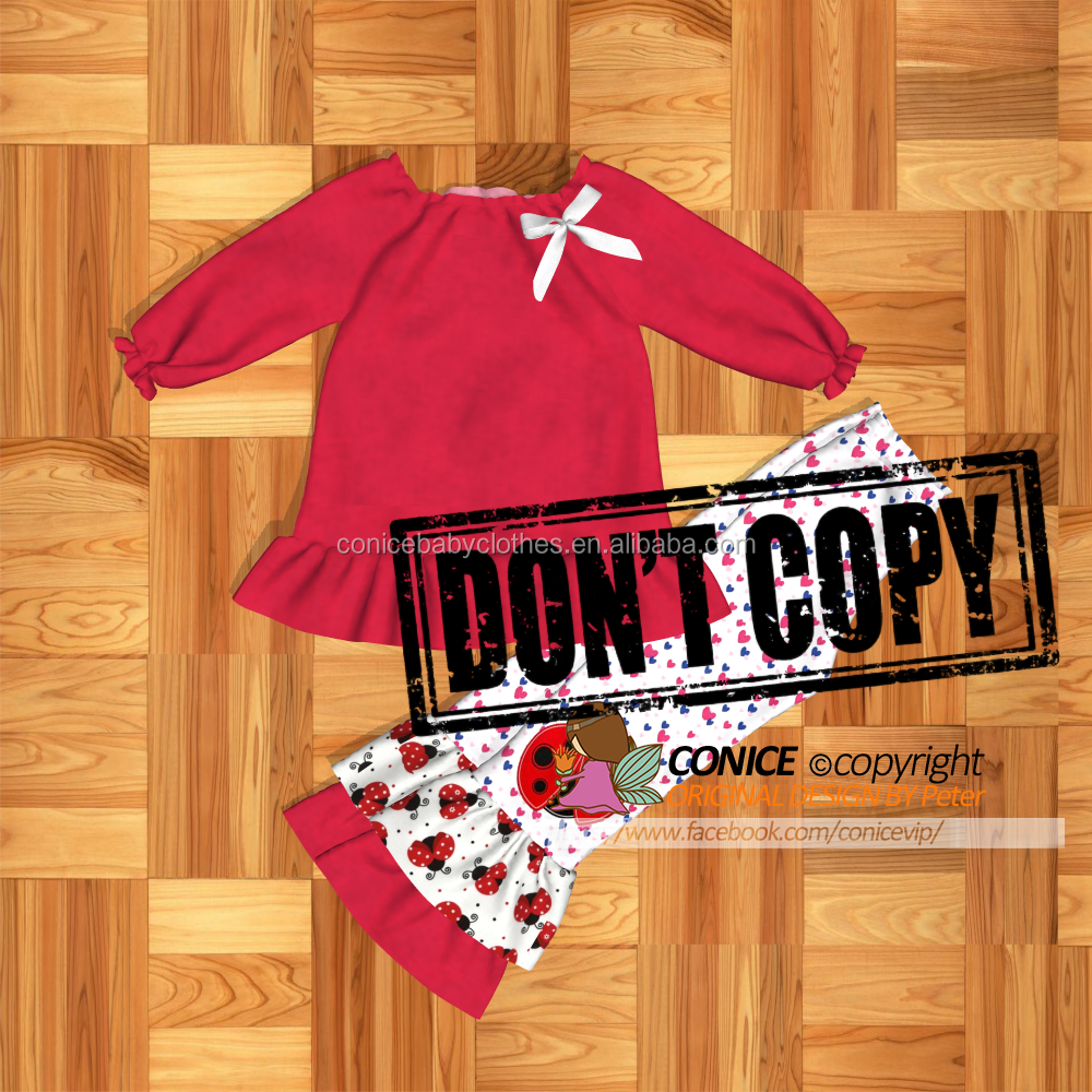 Rose red and red Valentine's Day baby clothes long sleeve match pants clothing sets girls clothes