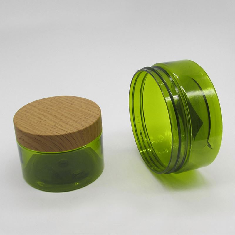 Wood Bamboo Lid for Green Color Empty PlasticPET Jar 150g 250g 300g Cosmetic Jar,Pet Jars For Cosmetics