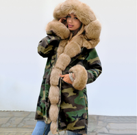 AGRADECIDO Winter Jacket With Fur At Hood Fur Parka Coats For Ladies Camo Jacket Fur Scarf Collar Parka