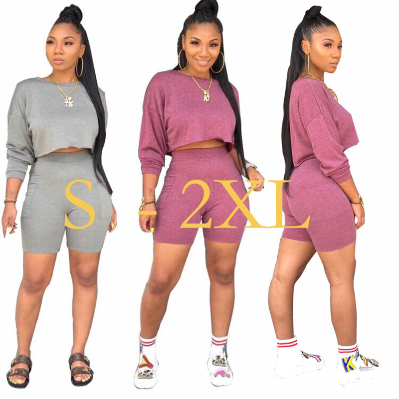 Solid Women Matching Set Long Sleeve Fashion Casual Two Piece Outfits Basic Crop Top And Biker Shorts Sets