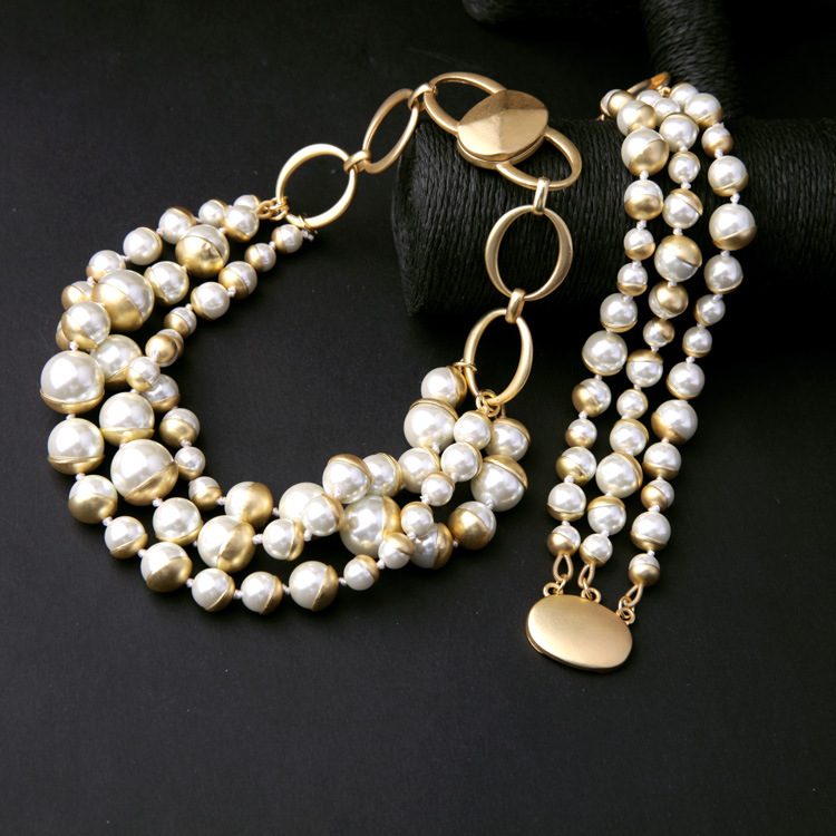 Wholesale hot selling design gold plated three layer pearl ladies multilayer bracelet