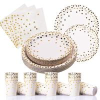 Best seller Gold Disposable Paper Plates Cups napkin Set For 50 Thanksgiving Baby Shower Wedding Birthday