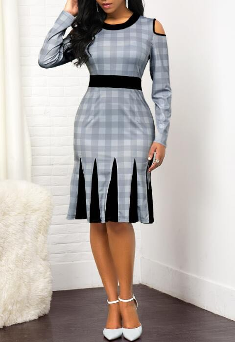 2020 plaid printed hollow out lotus slim fit for office ladies formal wear