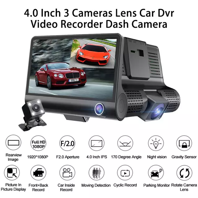 Shenzhen Car Dash Camera Vehicle Cam Full HD 1080P DVR 170 degree wide Angle Car Video Recorder Dashboard Camera