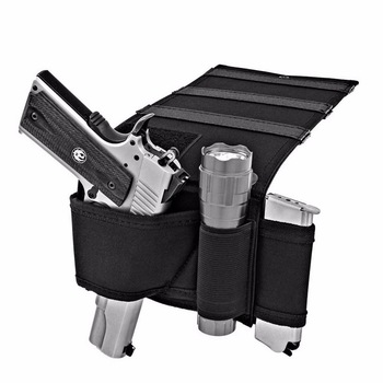 Adjustable Under Mattress Bedside Pistol Holster Car Seat Desk Closet Gun Handgun Holster with Flashlight Loop Magazine Holder