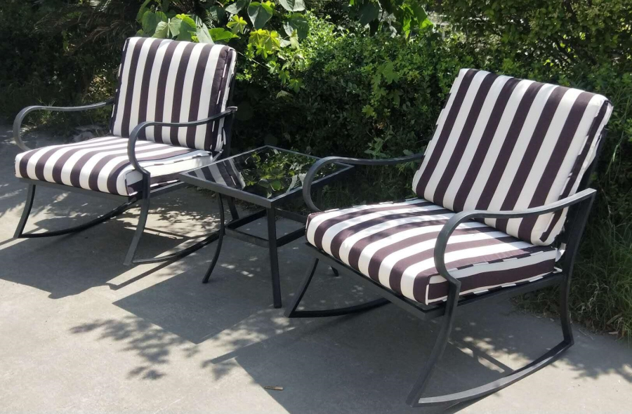 3pc chaise patio steel rocker chair  bistro set patio rocking chairs table hot sale