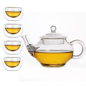 Hot sale Heat resistant small glass teapot + 4 glass cups