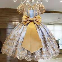 Винтажное платье с цветочным узором для девочек на свадьбу; Розовое платье-пачка принцессы на заказ с блестками и кружевным бантом для перв...(China)