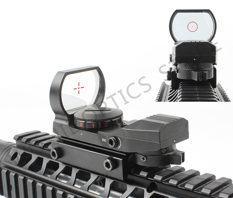 Hot new quality 20mm Rail Riflescope Hunting Optics Holographic Red Dot Sight Reflex 4 Reticle Tactical Scope Collimator Sight, Black