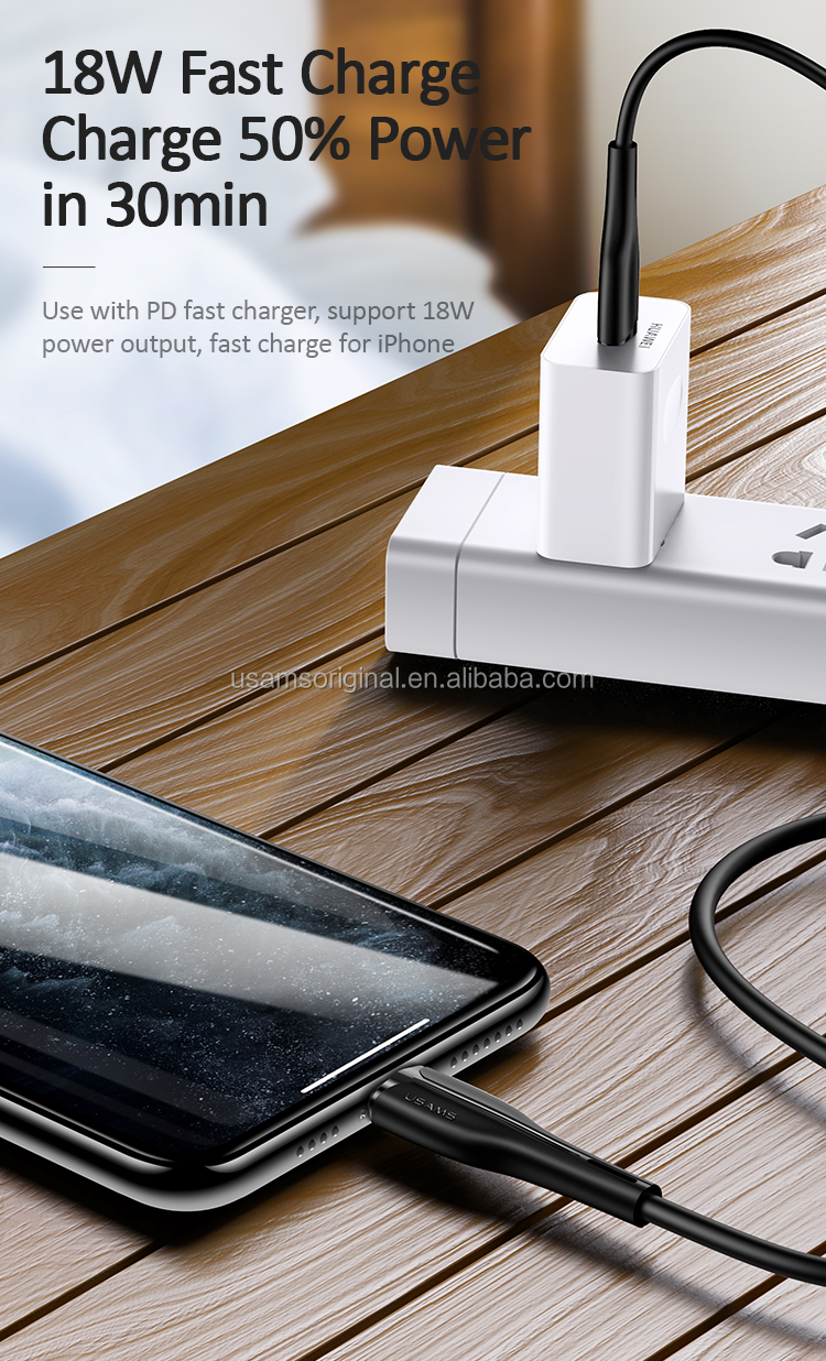 USAMS Best price SJ405 Type C To Lighting 30W Fast Charging USB Data Cable for iphone