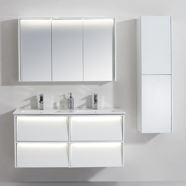 China Supplier Top Quality White Bathroom Furnishing Light Vanity Cabinet