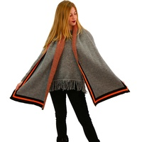 Italy women winter soft acrylic viscose blended rap shawl scarf with colorful stripes around