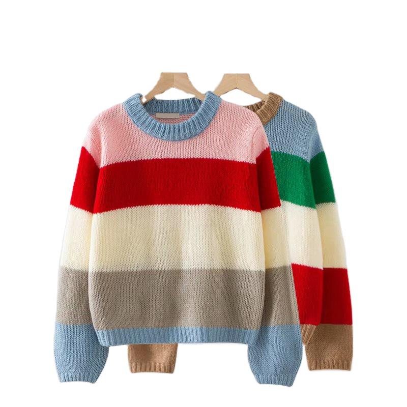 2020 oem冬の女性パーカーニット多色特大モヘアセータークルーネック長袖レディースエレガントなセーター