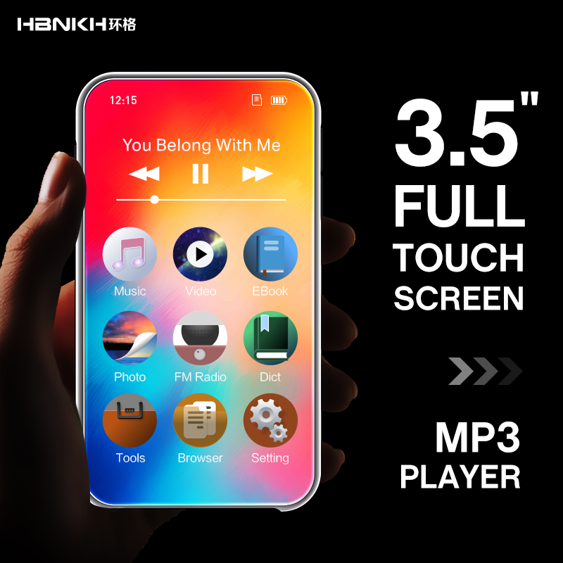 Newest HBNKH Full Touch Screen MP3 <strong>Player</strong> Music Support Movies, FM Radio, TF Card Digital MP3 MP4 <strong>Player</strong>