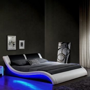 1178-1 modern design led bed double/king size bed with s-shape