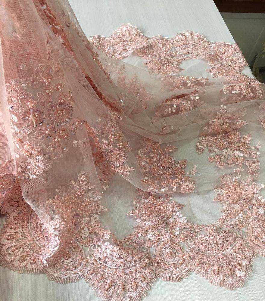 best selling pink color evening dress lace fabric heavy hand beaded pearl sequin embroidery lace fabric for dresses