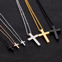 Custom Men's Silver Solid Polished Cross with Lord's Prayer Inscription and Stainless Steel Chain Cross Pendant Necklace