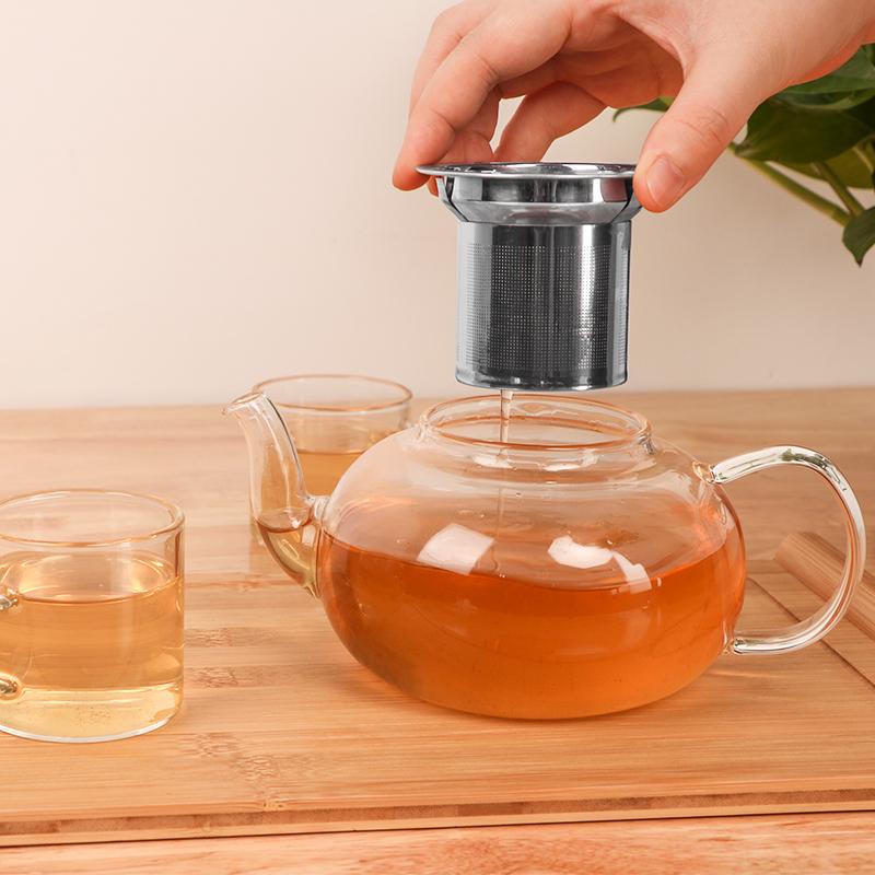 Transparent high borosilicate teapot heat resistant glass tea pot with infuser