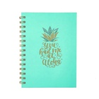 Custom Printing Cute Pineapple Hardcover Spiral Journal, Wholesale Shiny Gold Glitter Writing Paper Notebook