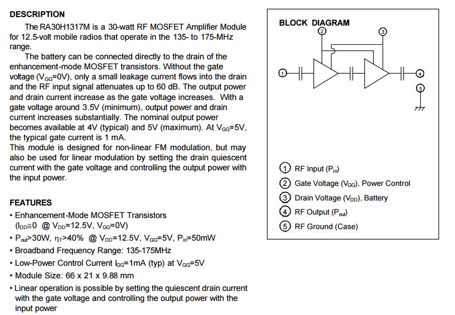 (RF MOSFET Amplifikatör Modülü Orijinal 135-175MHz 30W 12.5V MOBIL RADYO) RA30H1317M