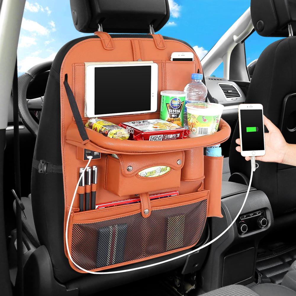4 USB из искусственной кожи автомобильное сиденье задняя Складная портативная коробка для хранения многофункциональный автомобильный Орган...(Китай)