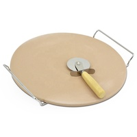 Pizza Stone with Handle and Crust Cutter