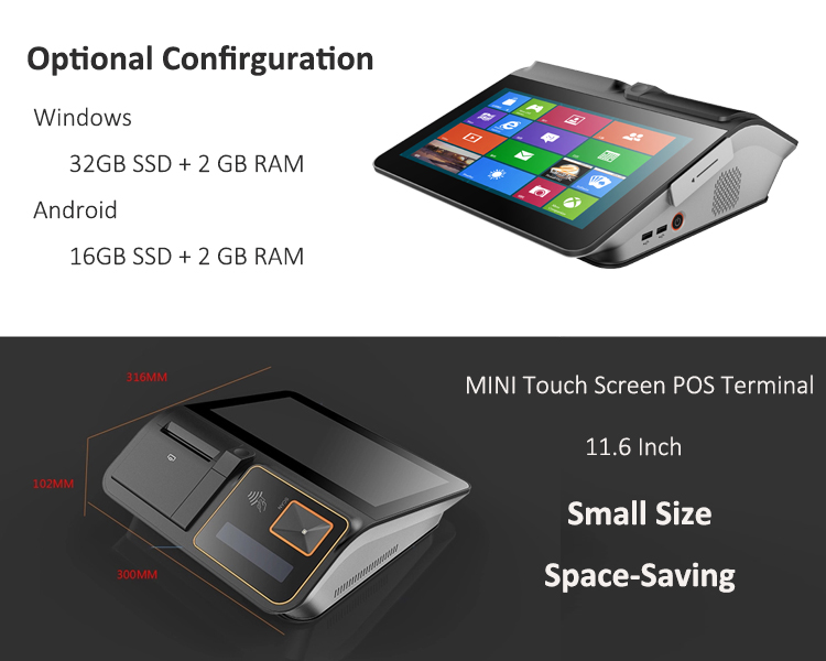 11.6 Inch Alles In Een Retail Touch Screen Windows Android Pos Machine