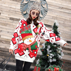 Winter Style Women Santa Snowman Knitted Ugly Christmas Sweater Dress