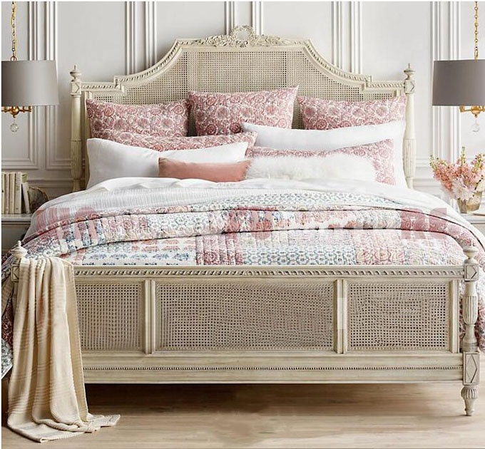 Hot selling French country vintage bed room furniture wooden Rattan Wicker cane king queen size bed