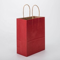 Bolsa De Papel Barata Red A3 A4 Personalised Custom Logo Printed Brown Kraft Gift Bag With Twsited Handle Gift Toy Packing Bag