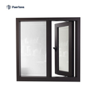 Powder Coated Frame Finishing Aluminum Clad Wood texture Window door With Blue Color Glass