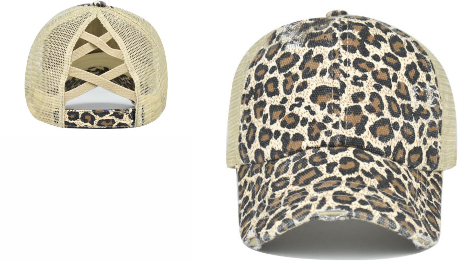 CrissCross Baseball Ponytail Messy Bun Trucker Leopard Woman Baseball Hat