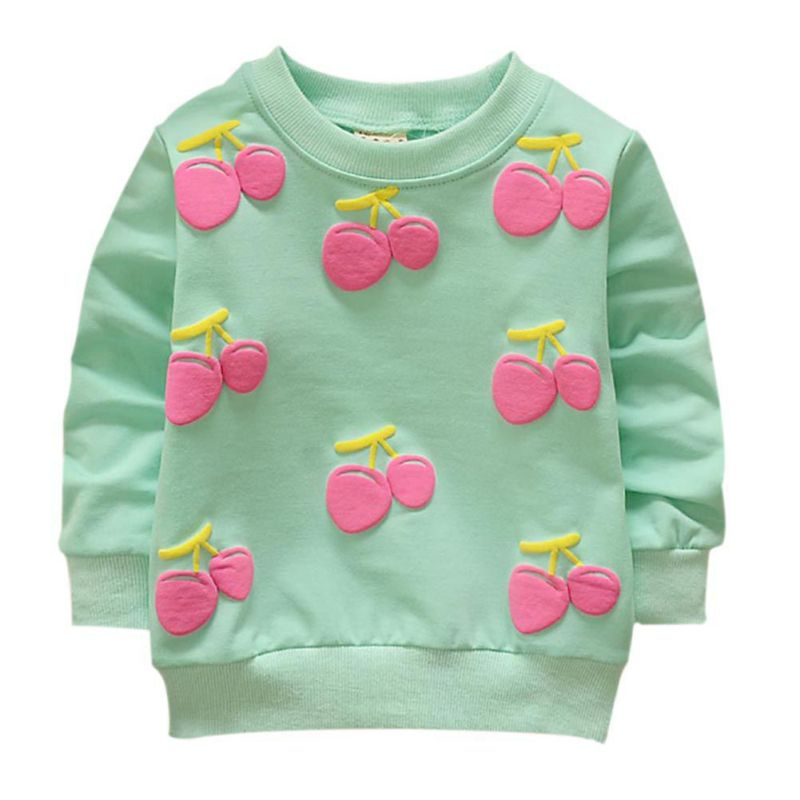 Children Clothes Baby Girls Sweatshirts Spring Candy Color Puff Print Cotton Girls Pullover Sweatshirts without Hoody