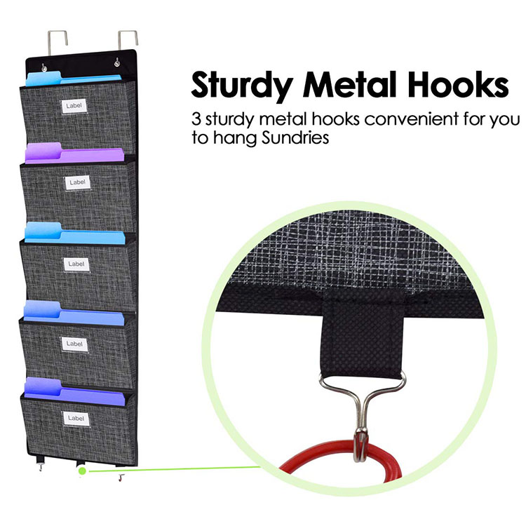 Folding Cardboard Office Wall/Door 5 Pockets Collapsible Vertical Wall Mounted File Organizer  Storage Organizer