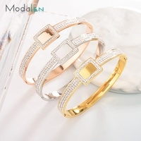 ModalenSteel Cheap Wholesale 24K Gold Cuff Custom Simple Diamond Engraved Bangle