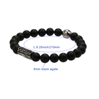 Black Jewelry Bracelet Bracelet Black 21cm Adjustable Antique Silver Plated Custom LOGO Brown Black Agate Jewelry Bracelet