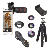 APEXEL Mobile Phone Lens Clip18x Zoom Telescope 4 in 1 Camera Lens for iPhone & Samsung Smartphone