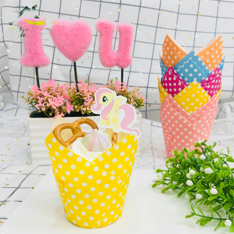 FDA PET Tulip Baking Paper Cups Cupcake Muffin Lót